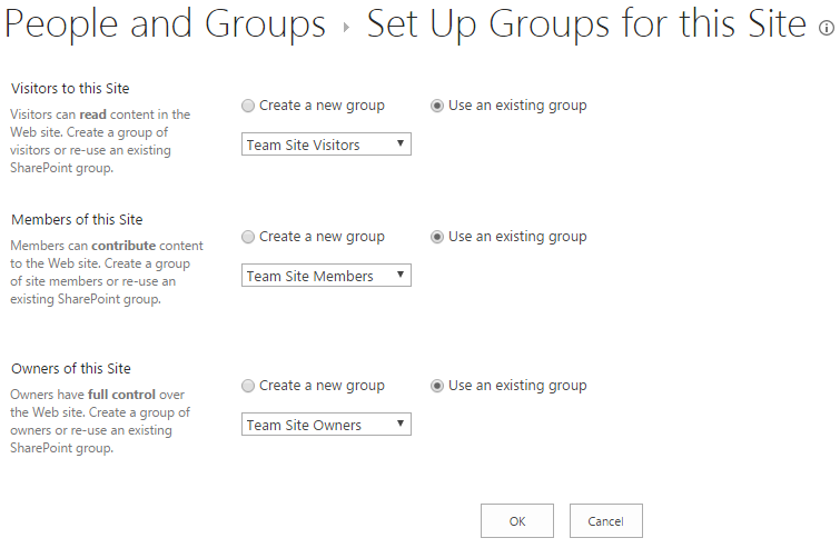 Set group associations of SharePoint site